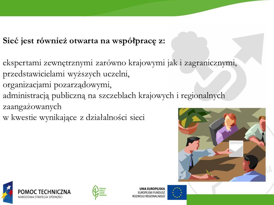 Sieć jest również otwarta na współpracę z: ekspertami zewnętrznymi zarówno krajowymi jak i zagranicznymi, przedstawicielami wyższych uczelni, organiza