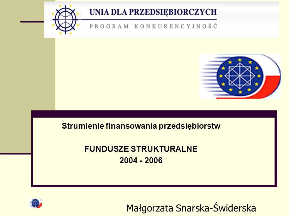 Strumienie finansowania przedsiębiorstw FUNDUSZE STRUKTURALNE 2004 - 2006 Małgorzata Snarska-Świderska