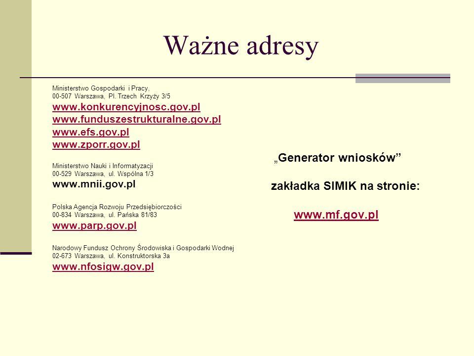 Ważne adresy Ministerstwo Gospodarki i Pracy, 00-507 Warszawa, Pl.