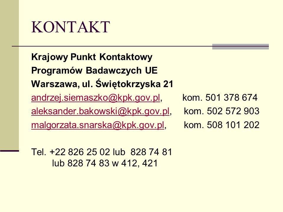 KONTAKT Krajowy Punkt Kontaktowy Programów Badawczych UE Warszawa, ul.