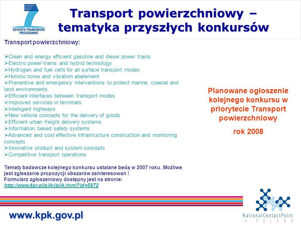 www.kpk.gov.pl Transport powierzchniowy – tematyka przyszłych konkursów Transport powierzchniowy:  Clean and energy efficient gasoline and diesel pow