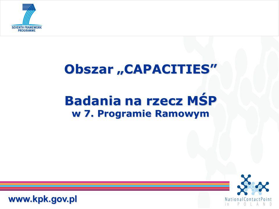 """Obszar """"CAPACITIES"""" Badania na rzecz MŚP w 7. Programie Ramowym www.kpk.gov.pl"""