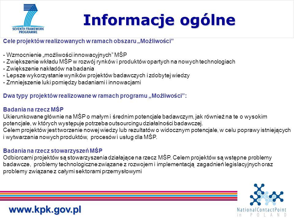 """www.kpk.gov.pl Informacje ogólne Informacje ogólne Cele projektów realizowanych w ramach obszaru """"Możliwości"""" - Wzmocnienie """"możliwości innowacyjnych"""""""