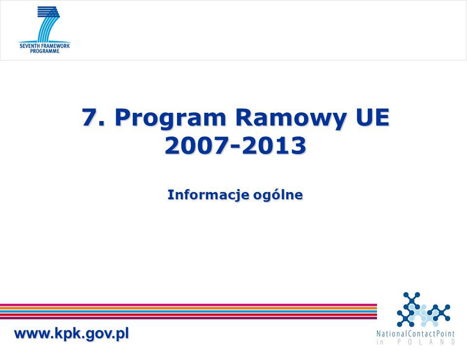 7. Program Ramowy UE 2007-2013 Informacje ogólne www.kpk.gov.pl