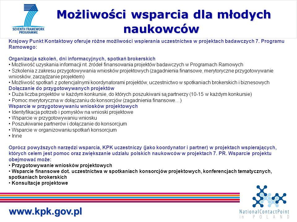 www.kpk.gov.pl Możliwości wsparcia dla młodych naukowców Możliwości wsparcia dla młodych naukowców Krajowy Punkt Kontaktowy oferuje różne możliwości w