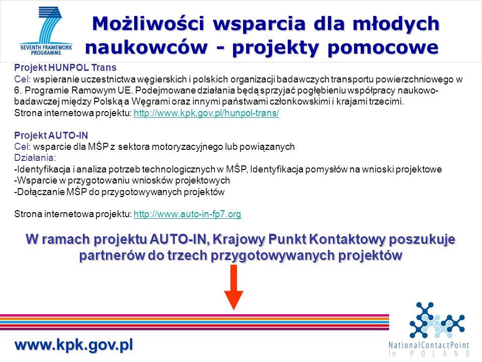Możliwości wsparcia dla młodych naukowców - projekty pomocowe Możliwości wsparcia dla młodych naukowców - projekty pomocowe www.kpk.gov.pl Projekt HUN