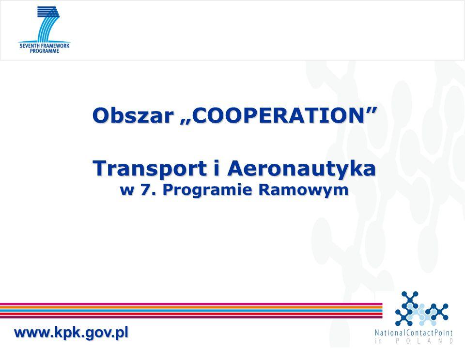 """Obszar """"COOPERATION"""" Transport i Aeronautyka w 7. Programie Ramowym www.kpk.gov.pl"""