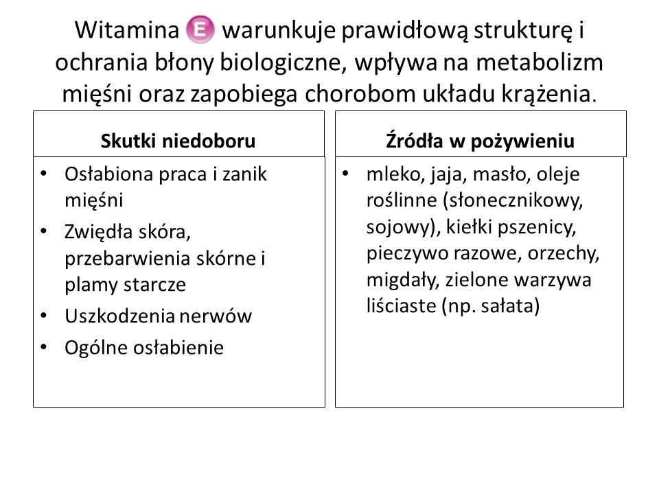 Witamina Ek warunkuje prawidłową strukturę i ochrania błony biologiczne, wpływa na metabolizm mięśni oraz zapobiega chorobom układu krążenia. Skutki n