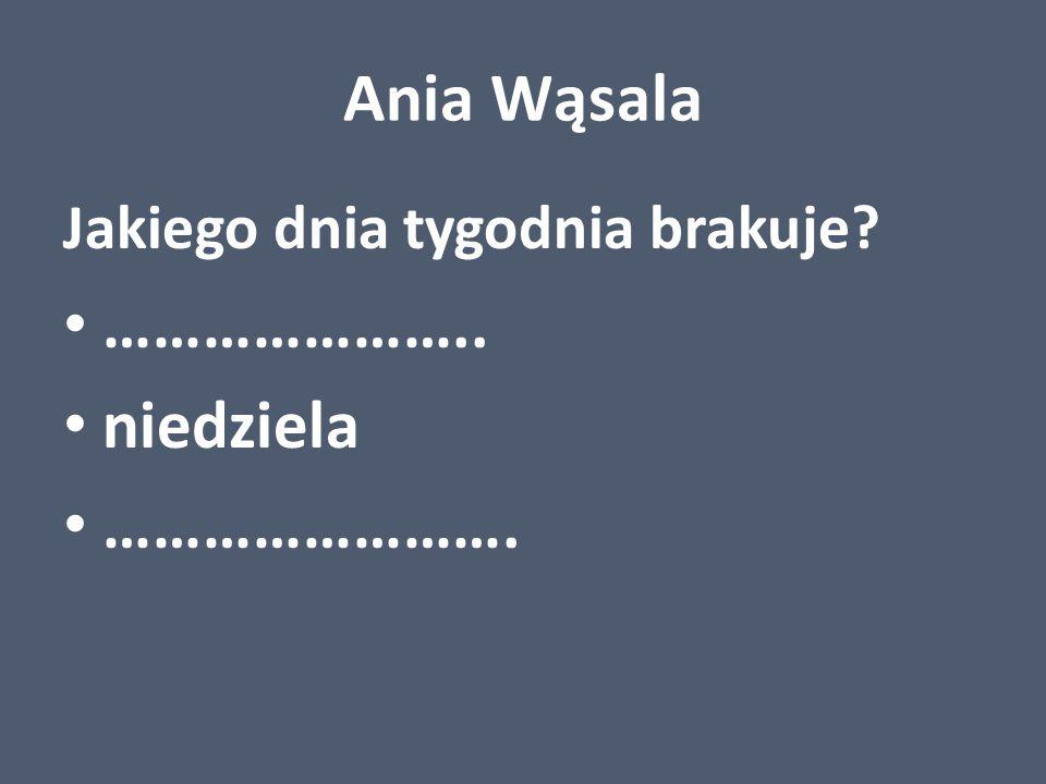 Ania Wąsala Jakiego dnia tygodnia brakuje? ………………….. niedziela …………………….