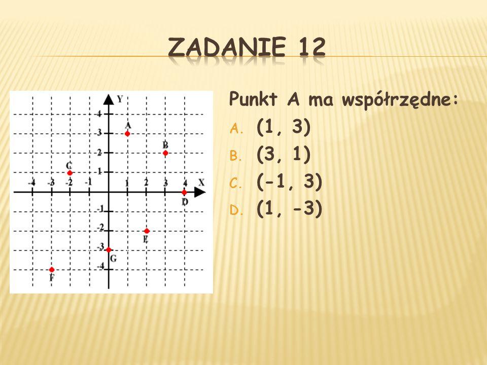 Punkt A ma współrzędne: A. (1, 3) B. (3, 1) C. (-1, 3) D. (1, -3)