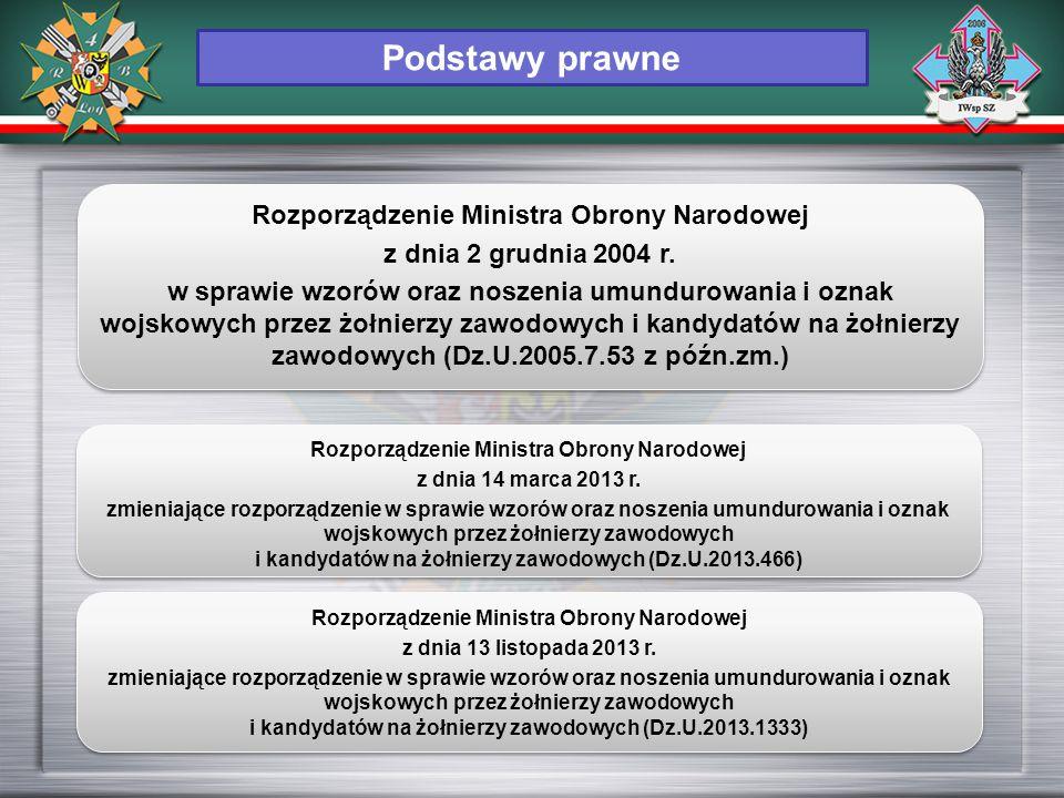 Rozporządzenie Ministra Obrony Narodowej z dnia 14 marca 2013 r. zmieniające rozporządzenie w sprawie wzorów oraz noszenia umundurowania i oznak wojsk