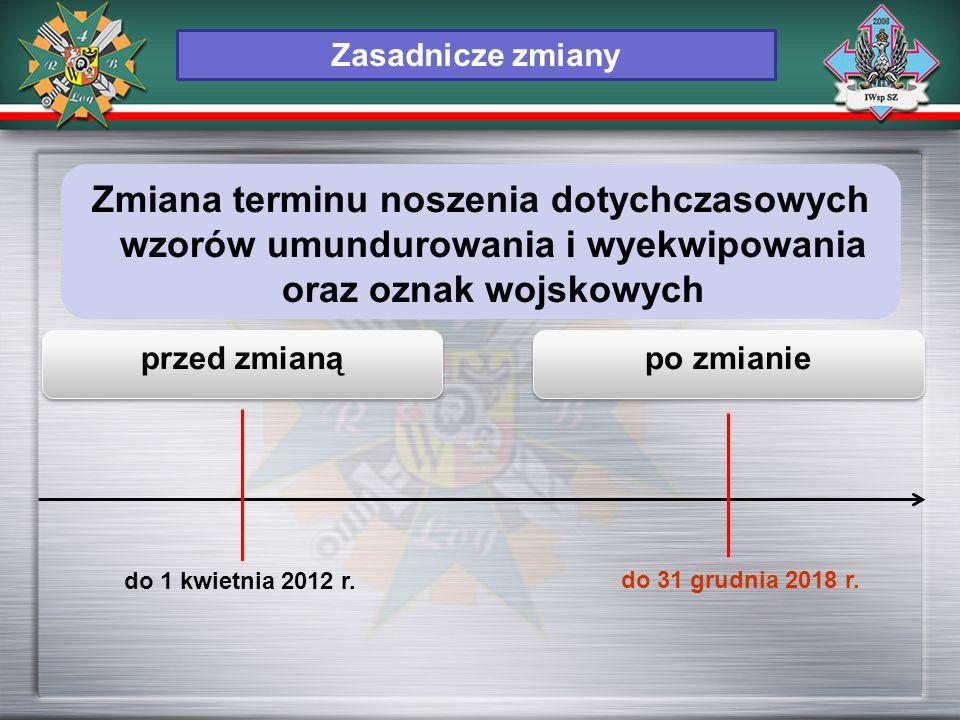 przed zmianą po zmianie do 1 kwietnia 2012 r. do 31 grudnia 2018 r. Zasadnicze zmiany Zmiana terminu noszenia dotychczasowych wzorów umundurowania i w