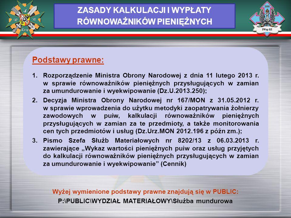 ZASADY KALKULACJI I WYPŁATY RÓWNOWAŻNIKÓW PIENIĘŻNYCH Podstawy prawne: 1.Rozporządzenie Ministra Obrony Narodowej z dnia 11 lutego 2013 r. w sprawie r