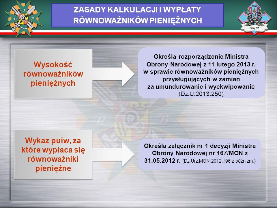 ZASADY KALKULACJI I WYPŁATY RÓWNOWAŻNIKÓW PIENIĘŻNYCH Wysokość równoważników pieniężnych Określa rozporządzenie Ministra Obrony Narodowej z 11 lutego