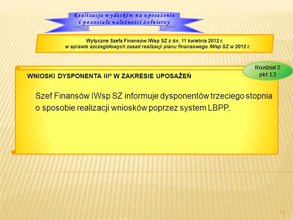 WNIOSKI DYSPONENTA IIIº W ZAKRESIE UPOSAŻEŃ Szef Finansów IWsp SZ informuje dysponentów trzeciego stopnia o sposobie realizacji wniosków poprzez system LBPP.
