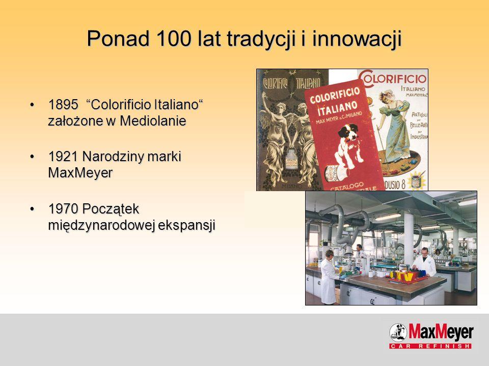 """Ponad 100 lat tradycji i innowacji 1895 """"Colorificio Italiano"""" założone w Mediolanie1895 """"Colorificio Italiano"""" założone w Mediolanie 1921 Narodziny m"""