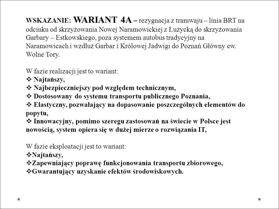 WSKAZANIE: WARIANT 4A – rezygnacja z tramwaju – linia BRT na odcinku od skrzyżowania Nowej Naramowickiej z Łużycką do skrzyżowania Garbary – Estkowski