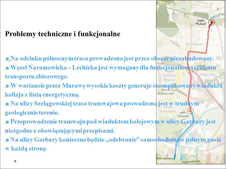 Problemy techniczne i funkcjonalne Na odcinku północnym trasa prowadzona jest przez obszar niezabudowany. Węzeł Naramowicka – Lechicka jest wymagany d