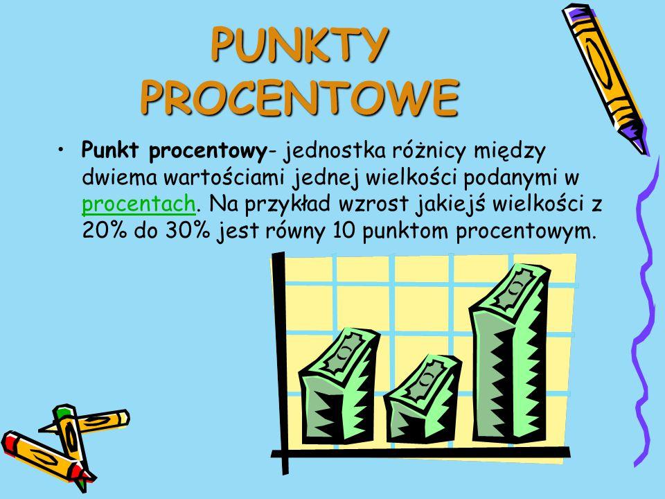 PUNKTY PROCENTOWE Punkt procentowy- jednostka różnicy między dwiema wartościami jednej wielkości podanymi w procentach.