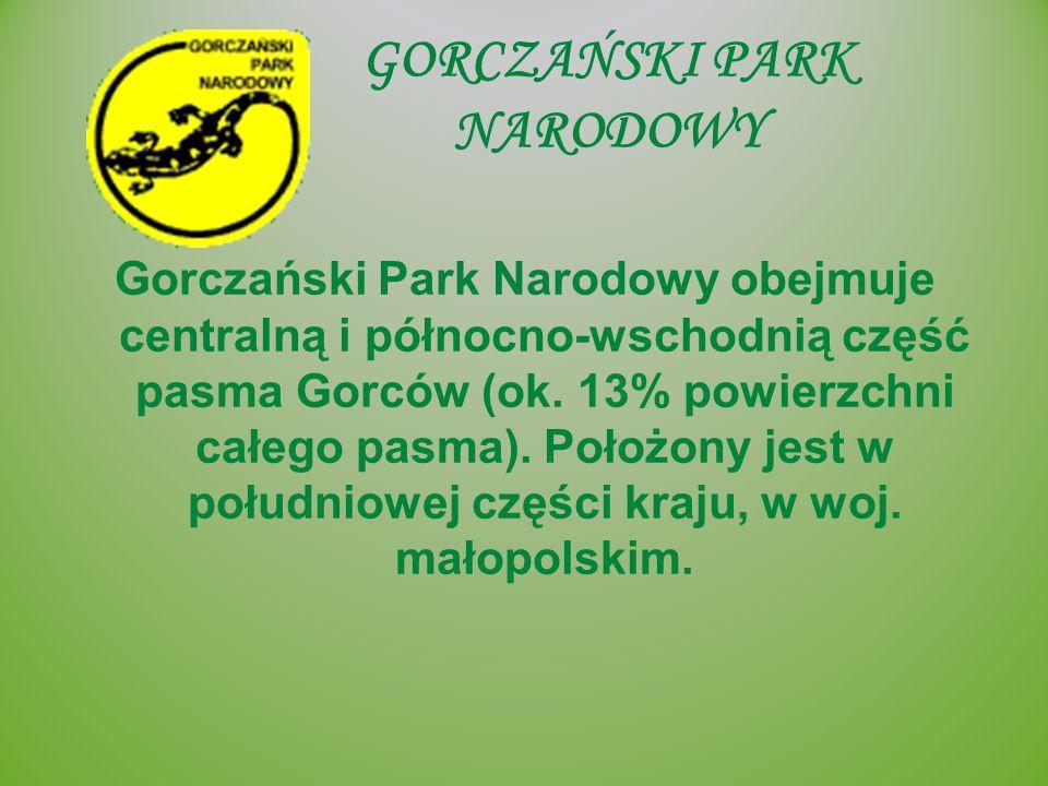 GORCZAŃSKI PARK NARODOWY Gorczański Park Narodowy obejmuje centralną i północno-wschodnią część pasma Gorców (ok. 13% powierzchni całego pasma). Położ