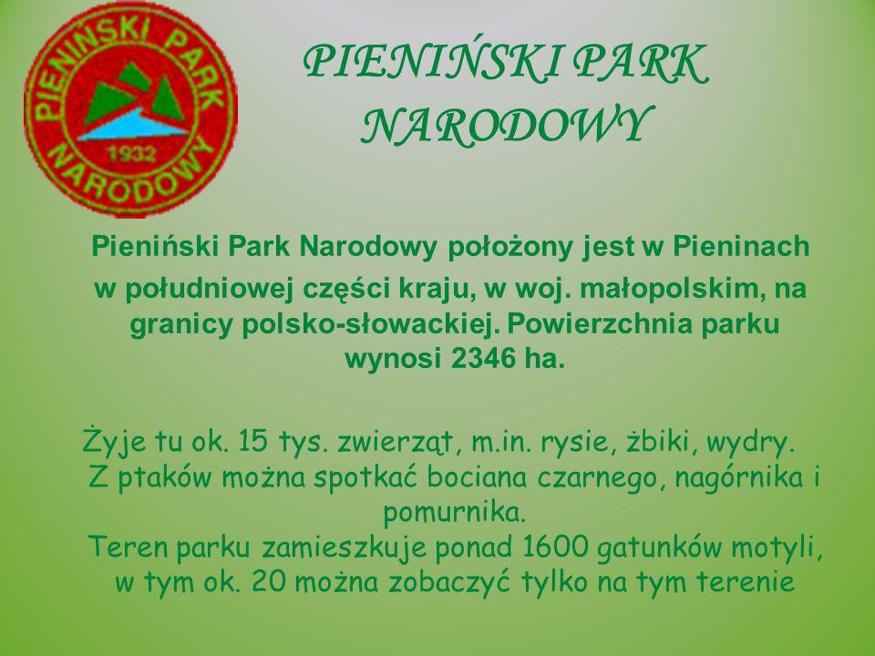 PIENIŃSKI PARK NARODOWY Pieniński Park Narodowy położony jest w Pieninach w południowej części kraju, w woj. małopolskim, na granicy polsko-słowackiej