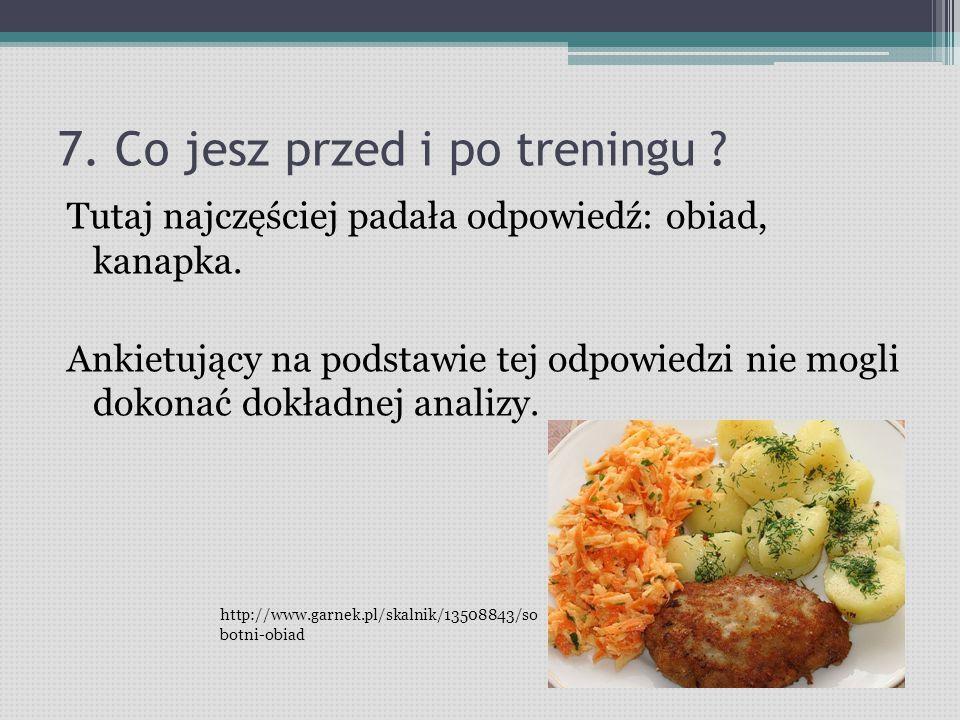 7.Co jesz przed i po treningu . Tutaj najczęściej padała odpowiedź: obiad, kanapka.