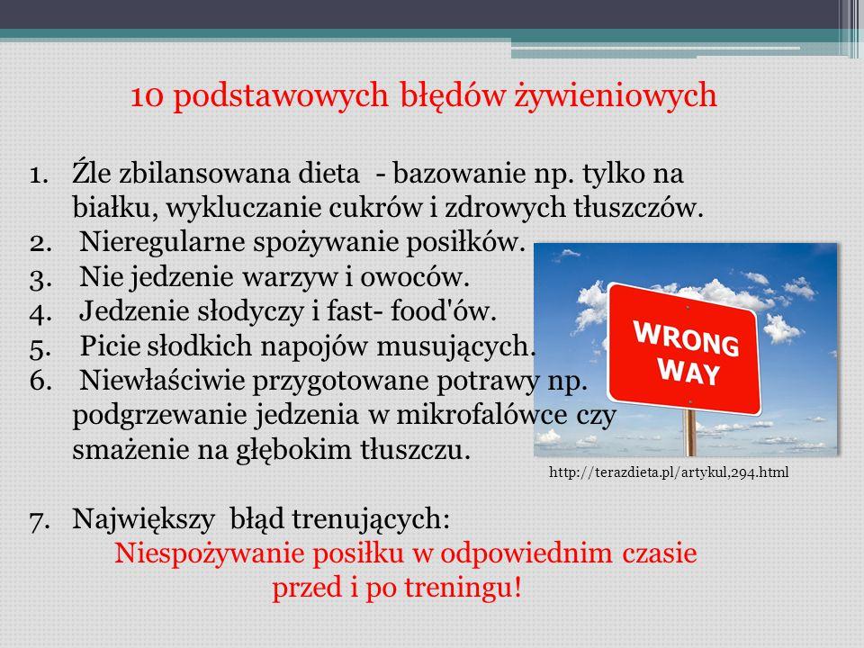 10 podstawowych błędów żywieniowych 1.Źle zbilansowana dieta - bazowanie np.