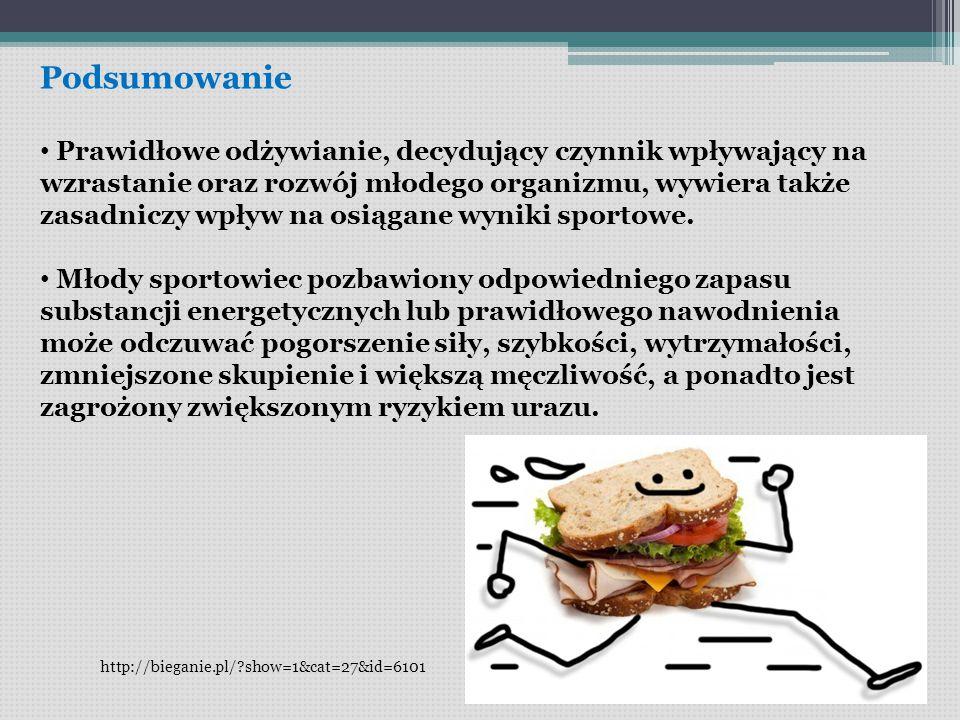 Podsumowanie Prawidłowe odżywianie, decydujący czynnik wpływający na wzrastanie oraz rozwój młodego organizmu, wywiera także zasadniczy wpływ na osiągane wyniki sportowe.