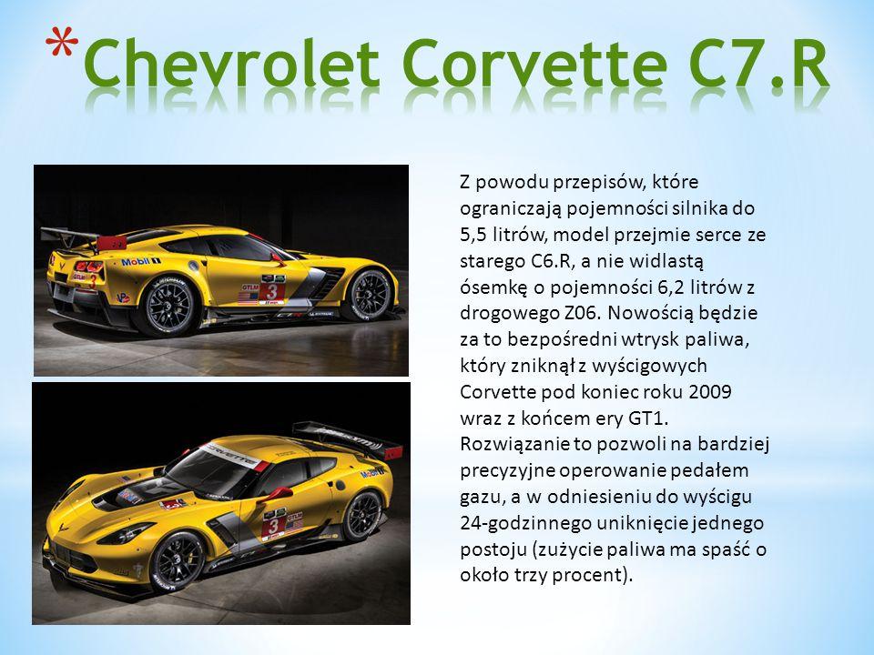 Z powodu przepisów, które ograniczają pojemności silnika do 5,5 litrów, model przejmie serce ze starego C6.R, a nie widlastą ósemkę o pojemności 6,2 litrów z drogowego Z06.