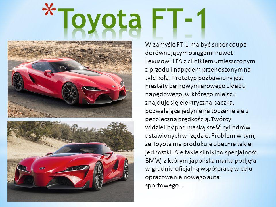 W zamyśle FT-1 ma być super coupe dorównującym osiągami nawet Lexusowi LFA z silnikiem umieszczonym z przodu i napędem przenoszonym na tyle koła.