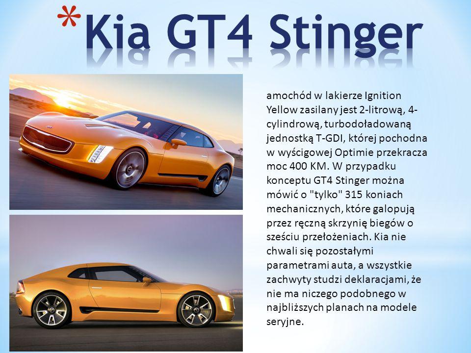 amochód w lakierze Ignition Yellow zasilany jest 2-litrową, 4- cylindrową, turbodoładowaną jednostką T-GDI, której pochodna w wyścigowej Optimie przekracza moc 400 KM.
