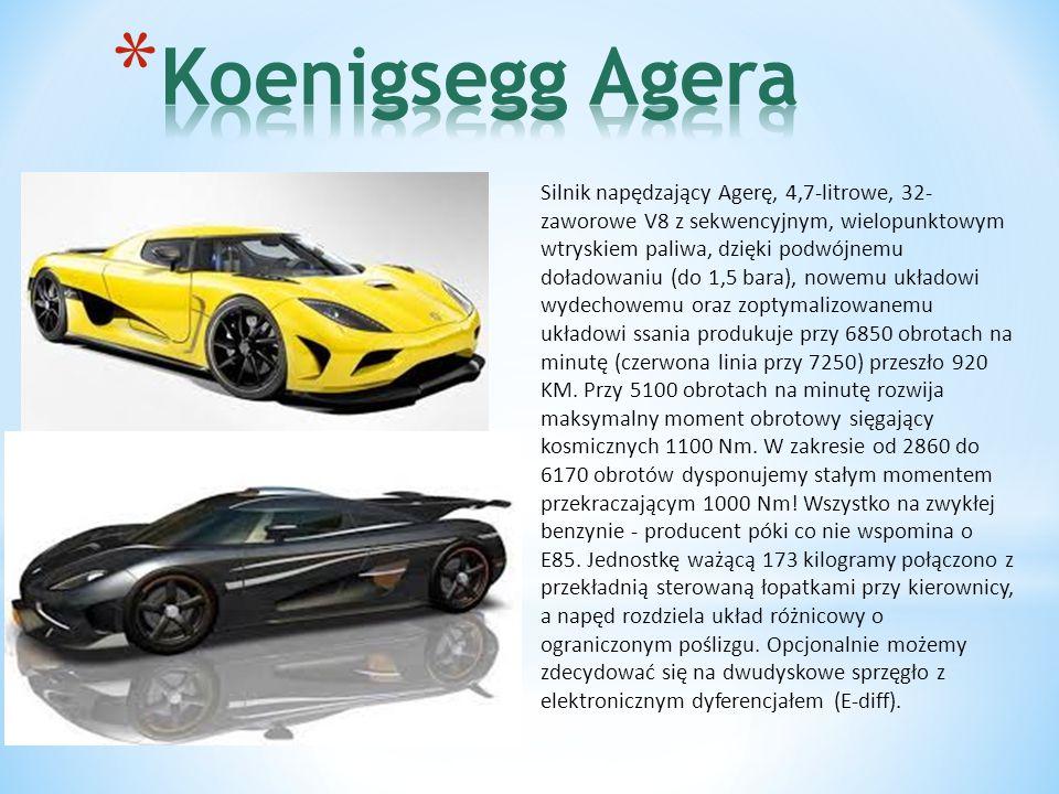 Silnik napędzający Agerę, 4,7-litrowe, 32- zaworowe V8 z sekwencyjnym, wielopunktowym wtryskiem paliwa, dzięki podwójnemu doładowaniu (do 1,5 bara), nowemu układowi wydechowemu oraz zoptymalizowanemu układowi ssania produkuje przy 6850 obrotach na minutę (czerwona linia przy 7250) przeszło 920 KM.