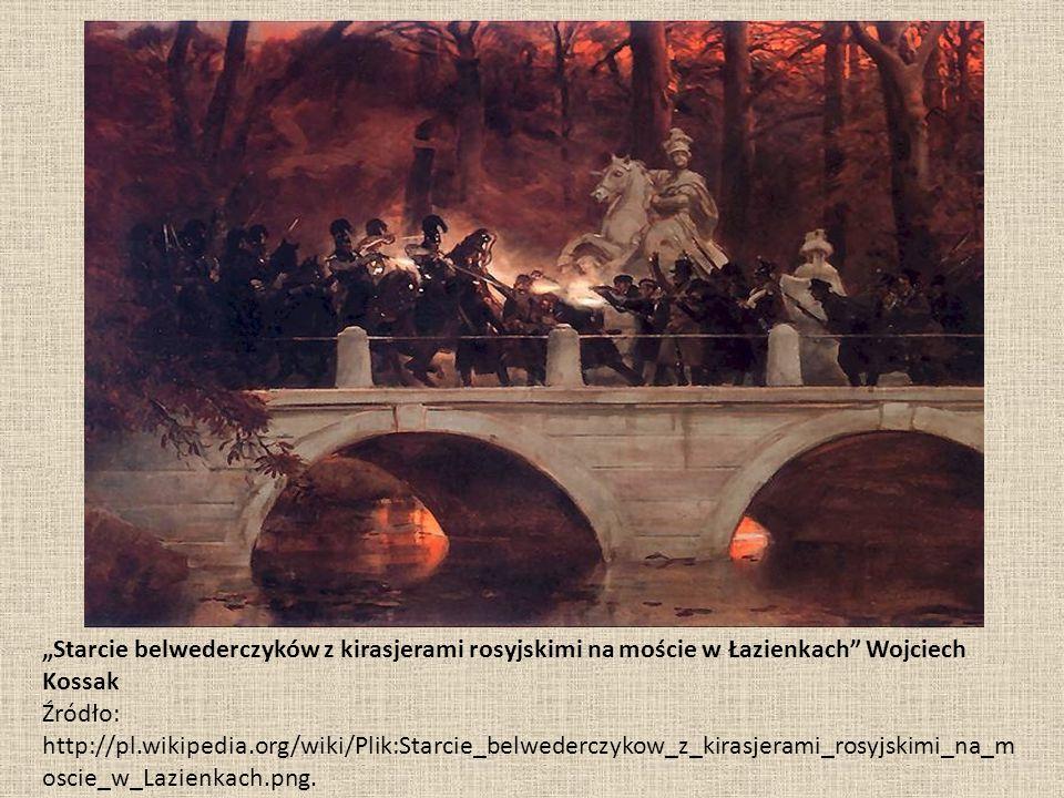 """""""Starcie belwederczyków z kirasjerami rosyjskimi na moście w Łazienkach"""" Wojciech Kossak Źródło: http://pl.wikipedia.org/wiki/Plik:Starcie_belwederczy"""