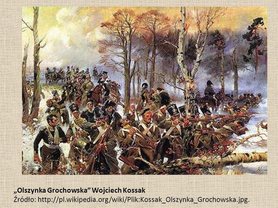 """""""Olszynka Grochowska Wojciech Kossak Źródło: http://pl.wikipedia.org/wiki/Plik:Kossak_Olszynka_Grochowska.jpg."""