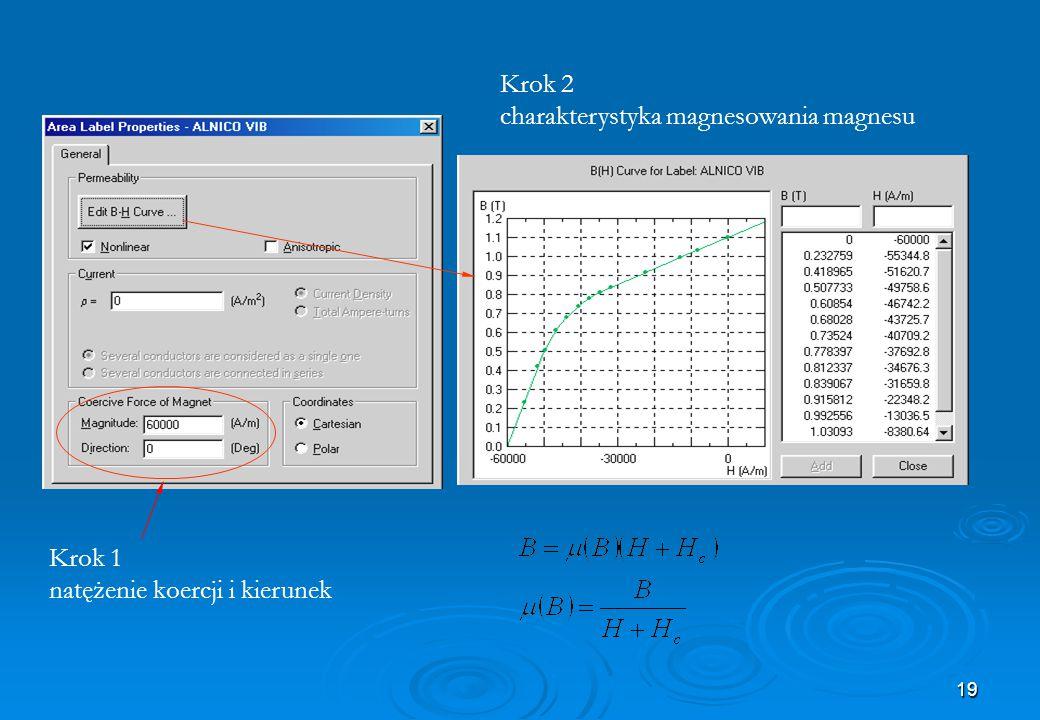 19 Krok 1 natężenie koercji i kierunek Krok 2 charakterystyka magnesowania magnesu