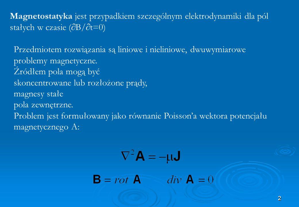 2 Magnetostatyka jest przypadkiem szczególnym elektrodynamiki dla pól stałych w czasie (  B/  t=0) Przedmiotem rozwiązania są liniowe i nieliniowe,