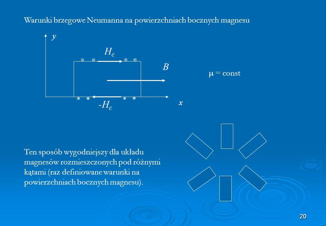 20  = const y Ten sposób wygodniejszy dla układu magnesów rozmieszczonych pod różnymi kątami (raz definiowane warunki na powierzchniach bocznych magn