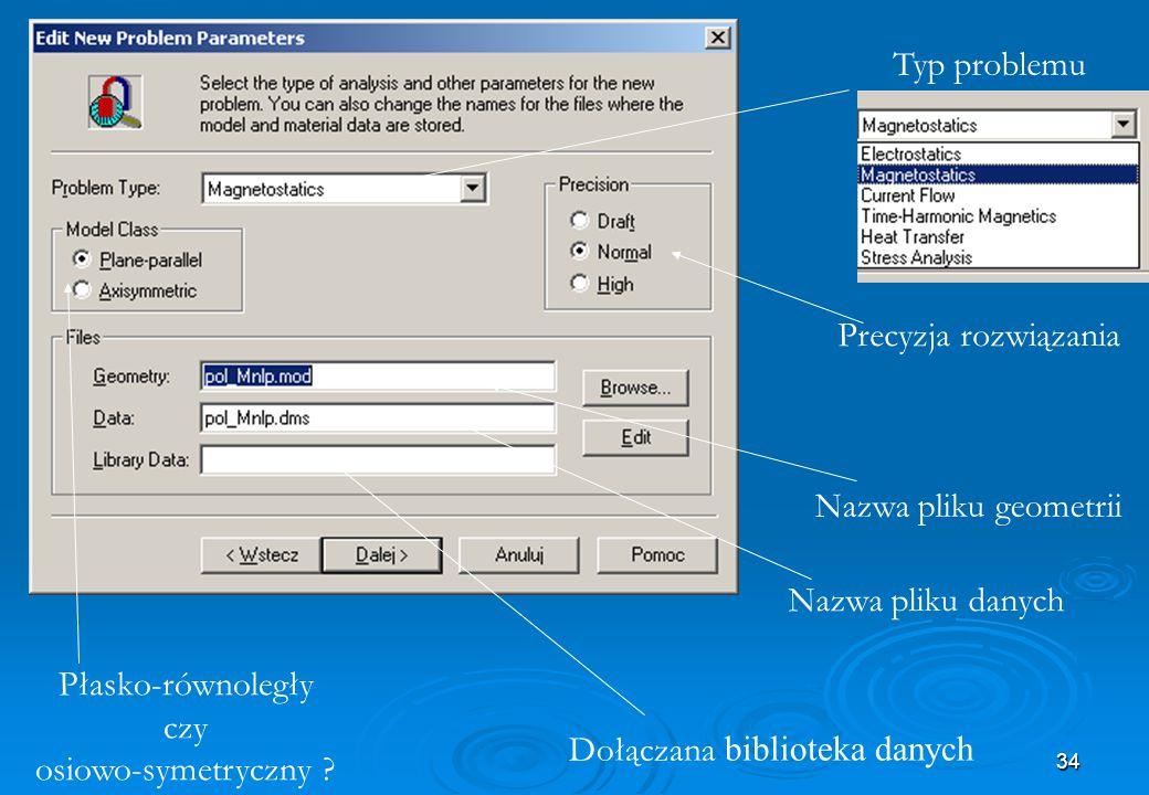 34 Płasko-równoległy czy osiowo-symetryczny ? Dołączana biblioteka danych Nazwa pliku danych Typ problemu Precyzja rozwiązania Nazwa pliku geometrii