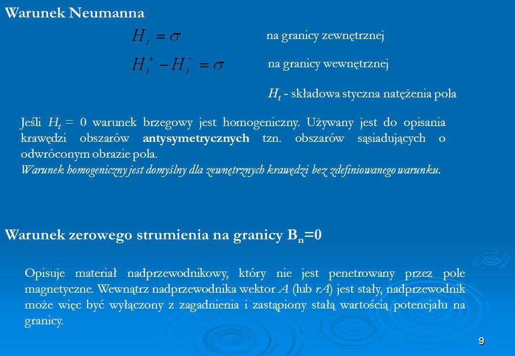 9 Warunek Neumanna na granicy zewnętrznej na granicy wewnętrznej H t - składowa styczna natężenia pola Jeśli H t = 0 warunek brzegowy jest homogeniczn