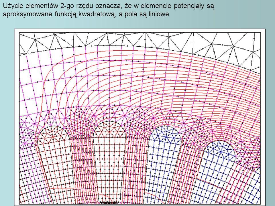 Użycie elementów 2-go rzędu oznacza, że w elemencie potencjały są aproksymowane funkcją kwadratową, a pola są liniowe