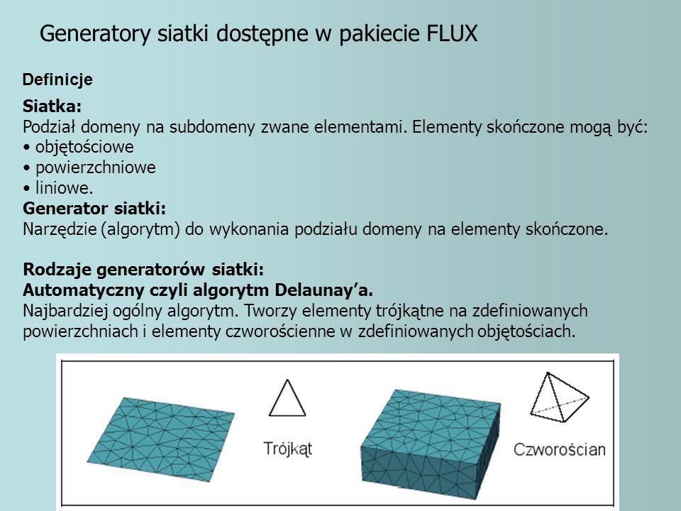 Generatory siatki dostępne w pakiecie FLUX Siatka: Podział domeny na subdomeny zwane elementami. Elementy skończone mogą być: objętościowe powierzchni