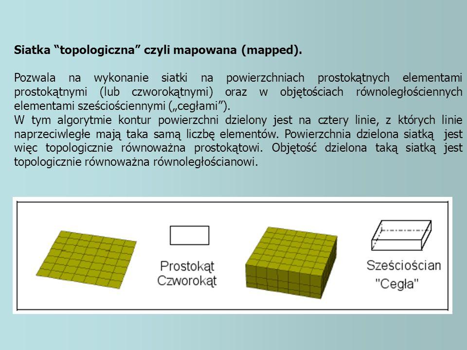 """Siatka """"topologiczna"""" czyli mapowana (mapped). Pozwala na wykonanie siatki na powierzchniach prostokątnych elementami prostokątnymi (lub czworokątnymi"""