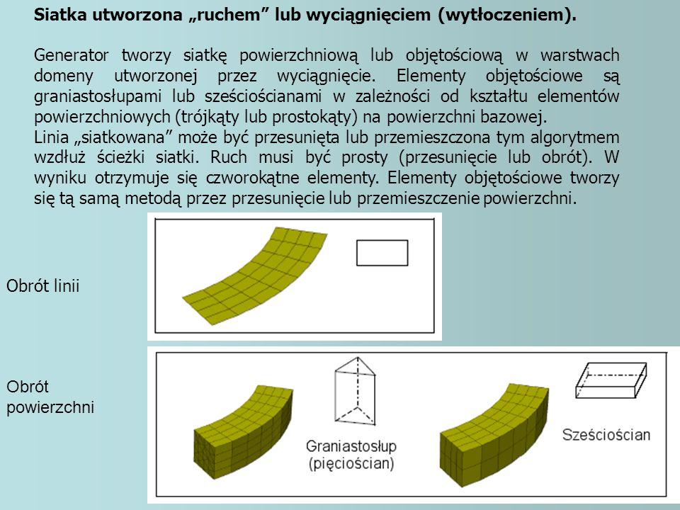 """Siatka utworzona """"ruchem"""" lub wyciągnięciem (wytłoczeniem). Generator tworzy siatkę powierzchniową lub objętościową w warstwach domeny utworzonej prze"""