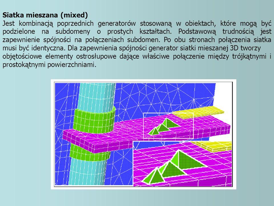 Siatka mieszana (mixed) Jest kombinacją poprzednich generatorów stosowaną w obiektach, które mogą być podzielone na subdomeny o prostych kształtach. P