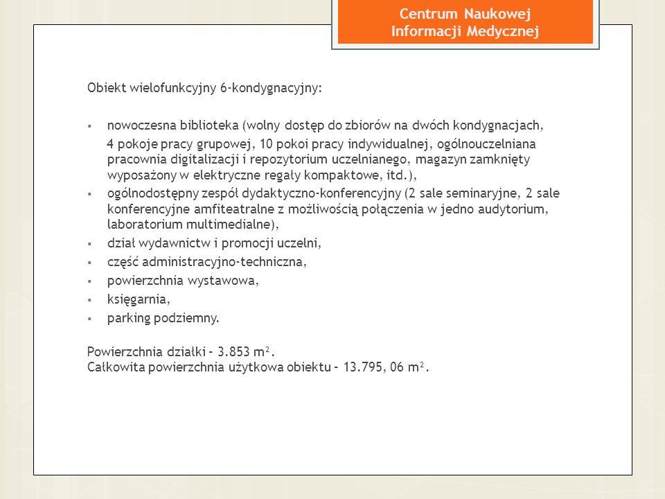 Centrum Naukowej Informacji Medycznej Obiekt wielofunkcyjny 6-kondygnacyjny:  nowoczesna biblioteka (wolny dostęp do zbiorów na dwóch kondygnacjach,