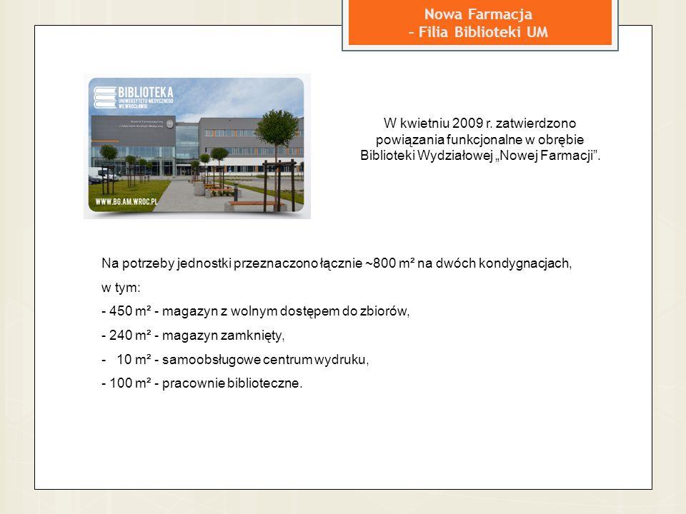 Nowa Farmacja – Filia Biblioteki UM Na potrzeby jednostki przeznaczono łącznie ~800 m² na dwóch kondygnacjach, w tym: - 450 m² - magazyn z wolnym dost