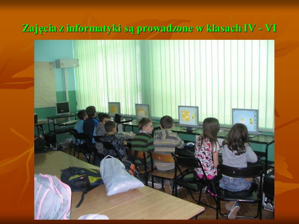 Zajęcia z informatyki są prowadzone w klasach IV - VI