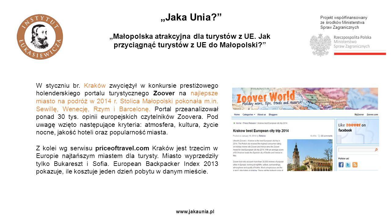 """Projekt współfinansowany ze środków Ministerstwa Spraw Zagranicznych www.jakaunia.pl """"Jaka Unia? """"Małopolska atrakcyjna dla turystów z UE."""