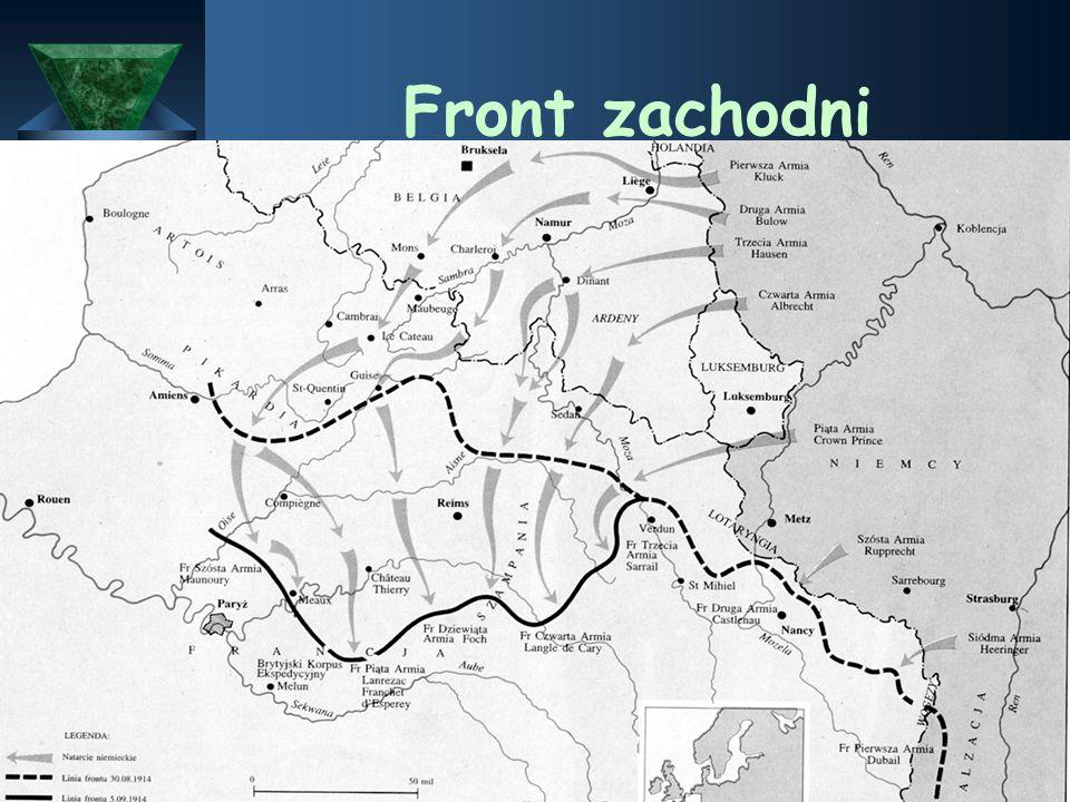 Fronty I wojny światowej  Były trzy fronty wojenne:  Front Zachodni - przeciwko Francji  Front południowy przeciwko Serbii  Front wschodni przeciw