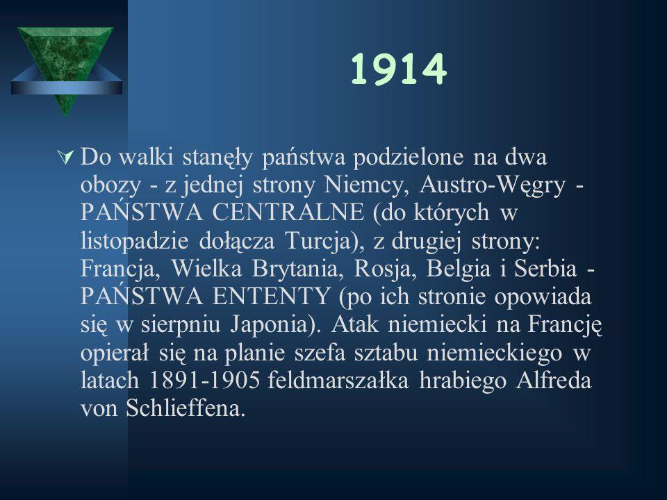 Dwa obozy… Trój przymierze (PAŃSTWA CENTRALNE) Trój porozumienie (ENTENTA) Niemcy, Austro – Węgry, Włochy(wyst.1915) Bułgaria, Turcja Francja, Rosja,